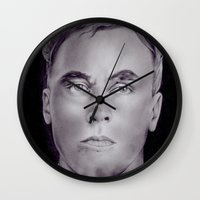 carl sagan Wall Clocks featuring Carl Panzram by Buffy Ino Kua