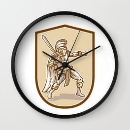 Centurion Roman Soldier Wielding Sword Cartoon Wall Clock
