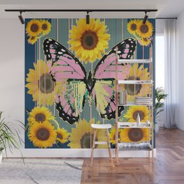 ABSTRACT PINK BUTTERFLY TEAL GARDEN SUNFLOWER Wall Mural