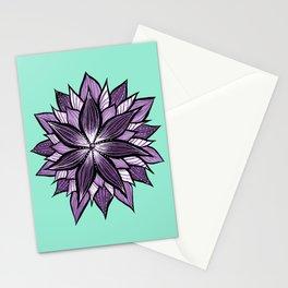 Purple Mandala Like Abstract Flower Stationery Cards