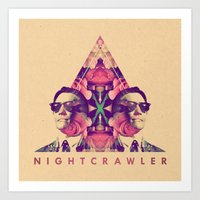 nightcrawler Art Prints featuring Nightcrawler by Virtual Window