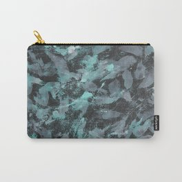 Green and White Ink on Black Background Carry-All Pouch