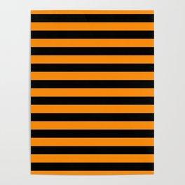 Dark Pumpkin Orange and Black Halloween Beach Hut Stripes Poster