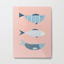 Mid-century blue fish Metal Print