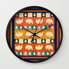 Multicolored bear pattern Wall Clock