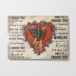 Tattoo Addicts Erotic Tattoos Couple Holding Hand I Choose You Metal Print