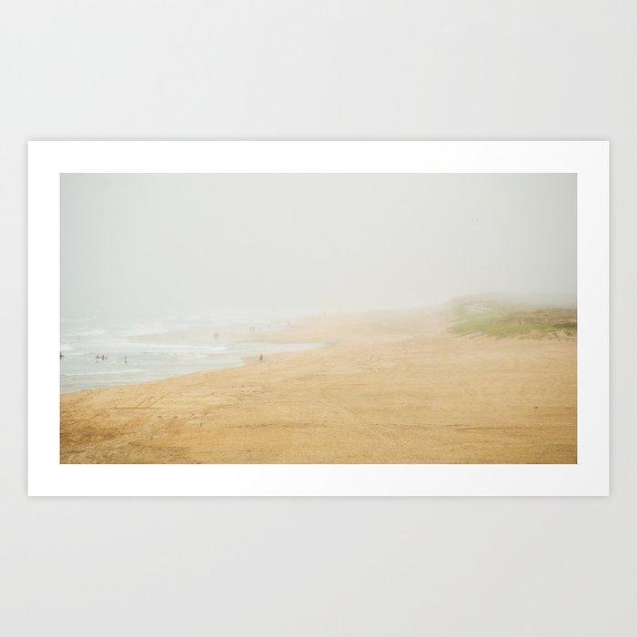 Misty beach Art Print