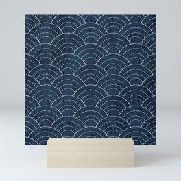 Navy Sashiko waves pattern Mini Art Print