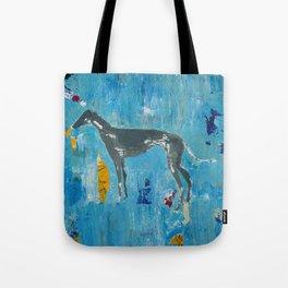 Greyhound Dog Abstract Painting Tote Bag