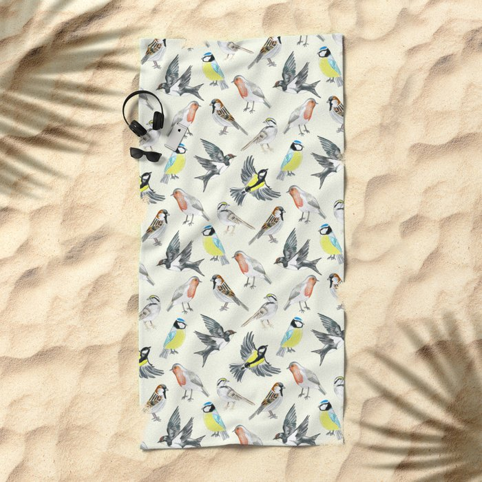 Illustrated Birds Beach Towel