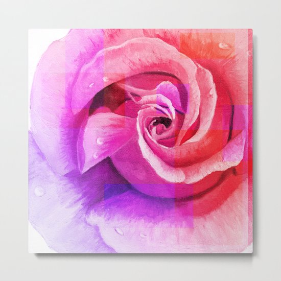 Retouched rose painting Metal Print