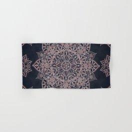Elegant rose gold poinsettia and snowflakes mandala art Hand & Bath Towel