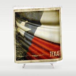 Grunge sticker of Texas (USA) flag Shower Curtain