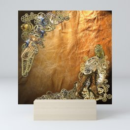 Gothic  - Steampunk sculptures On leather Mini Art Print