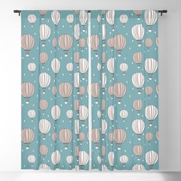 Hot Air Balloons in Paris - Blue with pink and white balloons Blackout Curtain