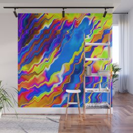 Fluid Abstract Art - Blue Purple Yellow Flux - Oil painting plus wave effect Wall Mural