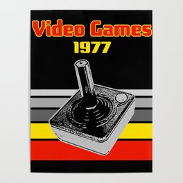 Video Games 1977 Retro Gaming Joystick Poster