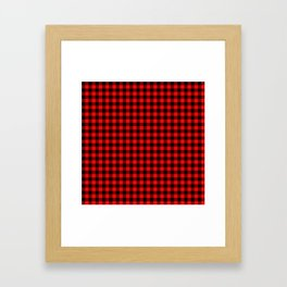 Original Berry Red and Black Rustic Cowboy Cabin Buffalo Check Framed Art Print