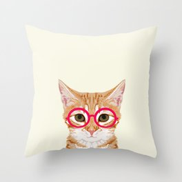 Ginger - Cute cat with glasses hipster cat art for dorm college decor funny cat lady meme Throw Pillow