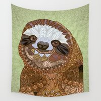 sloth Wall Tapestries featuring Smiling Sloth by ArtLovePassion