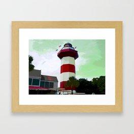 Harbour Town - Hilton Head, South Carolina - candy cane lighthouse - modern nautical photography pri Framed Art Print