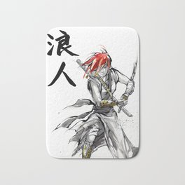 Samurai Girl Red Haired Ronin with calligraphy Bath Mat