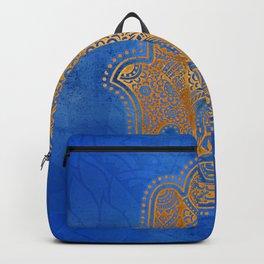 Elegance Hamsa Hand Metallic Gold Royal Blue Backpack