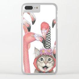 Flamingo Cat Clear iPhone Case
