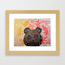 brown bear in autumn leaves lino print Framed Art Print