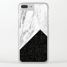 Ebony marble geo Clear iPhone Case