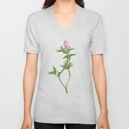 Trifolium pratense illustration Unisex V-Neck