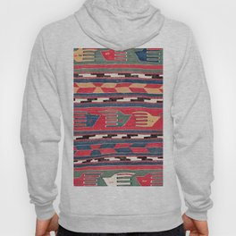 Southwestern Nomad III // 18th Century Colorful Red Blue Green Yellow Shapes and Bands Pattern Hoody