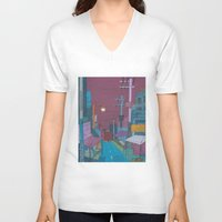 seoul V-neck T-shirts featuring Seoul City #2 by Rob McClelland