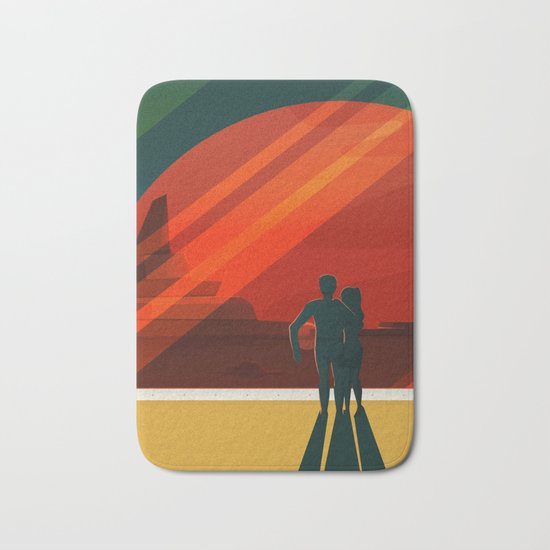 THE MOONS OF MARS - Phobos & Deimos | Space | X | Retro | Vintage | Futurism | Sci-Fi | Two Bath Mat