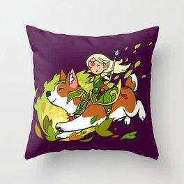 Corgi and Fairy Throw Pillow