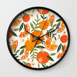Orange Blooms – White Palette Wall Clock