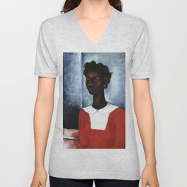African American Masterpiece 'Girl in a Red Dress' by Charles Alston Unisex V-Neck