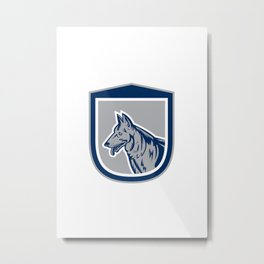 German Shepherd Dog Head Shield Woodcut Metal Print