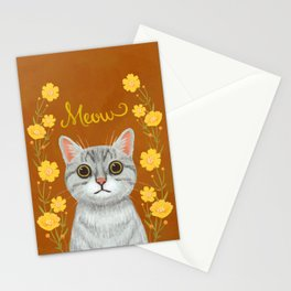 cat with floral - meow Stationery Cards