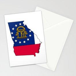 Georgia Map with Georgian Flag Stationery Cards