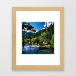 Mountain Forest Lake Framed Art Print