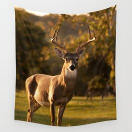 White Tailed Deer In Field Wall Tapestry