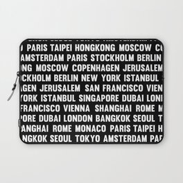 Famous City pattern black & White Laptop Sleeve