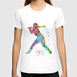 Baseball Softball Player Sports Art Print Watercolor Print Girl's softball T-shirt