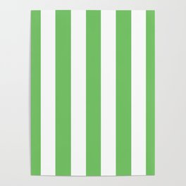 Mantis green - solid color - white vertical lines pattern Poster