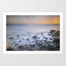 Brights rocks at sunset Art Print