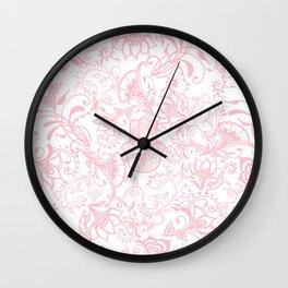 Pastel pink white henna hamsa Hand of Fatima floral mandala Wall Clock