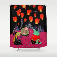 lantern Shower Curtains featuring Lantern Fest by Soju Shots
