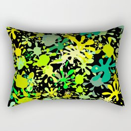 Green Ink Blots and Stains Rectangular Pillow