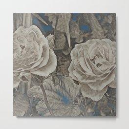 Rose Art Newspaper Print Metal Print
